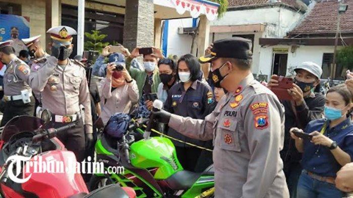 104 Motor dengan Knalpot Brong Diamankan Satlantas Polres Kediri Kota, Suaranya Meresahkan Warga