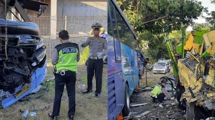 Detik-detik Bus Restu Mulyadan Truk Muatan Ikan Adu Moncong di Paiton Probolinggo, 2 Orang Tewas