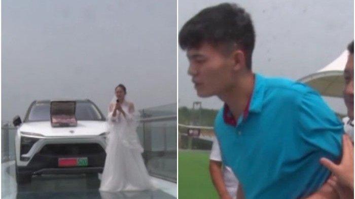 Aksi pengantin wanita melamar pacarnya di atas jembatan kaca dengan uang dan mobil mewah