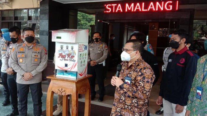 Gandeng Universitas Brawijaya, Polresta Malang Kota Luncurkan Dispenser Masker, Ini Kegunaannya