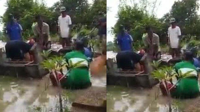 Pemakaman Kakek di Cerme Terjang Banjir Setinggi Lutut, Penggali Kubur Buat Tanggul Seadanya