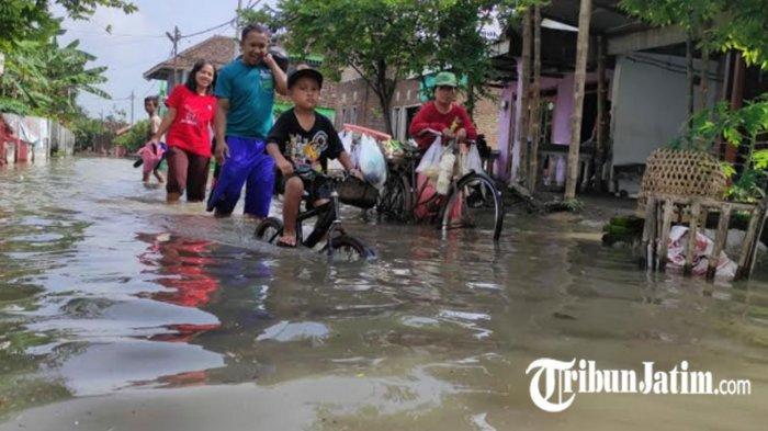 Sungai Sadar Meluap, 15 Hektare Sawah dan Rumah Warga di Mojosari Mojokerto Terendam Banjir
