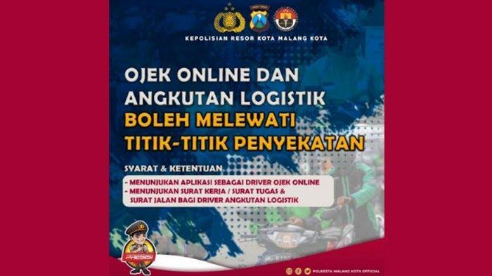 Ojek Online dan Angkutan Logistik Boleh Melintas di Titik Penyekatan Jatim, Syaratnya Tunjukkan Ini
