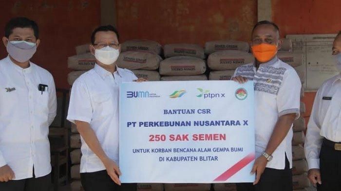 Peduli Bencana Gempa, PTPN X Salurkan Bantuan 250 Semen Untuk Blitar