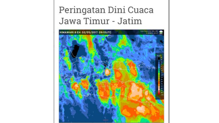 Begini gambar cuaca beberapa wilayah di Jawa Timur dari BMKG Juanda, pada Selasa (2/5/2017), banyak yang dilanda hujan disertai petir