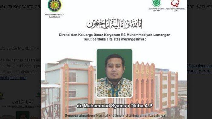 Warga Muhammadiyah dan RSM Lamongan Berduka, dr Muhammad Syamsu Dluha Meninggal