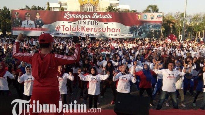 Libatkan Ribuan Masyarakat Lamongan, Polres Gelorakan Tolak Kerusuhan