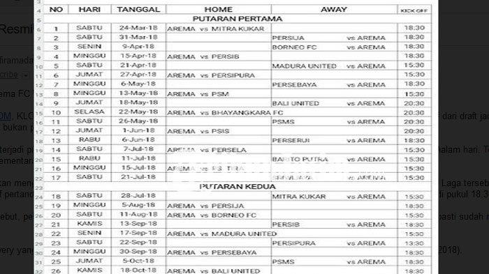 Ini Jadwal Resmi Arema FC Untuk Liga 1 Musim 2018