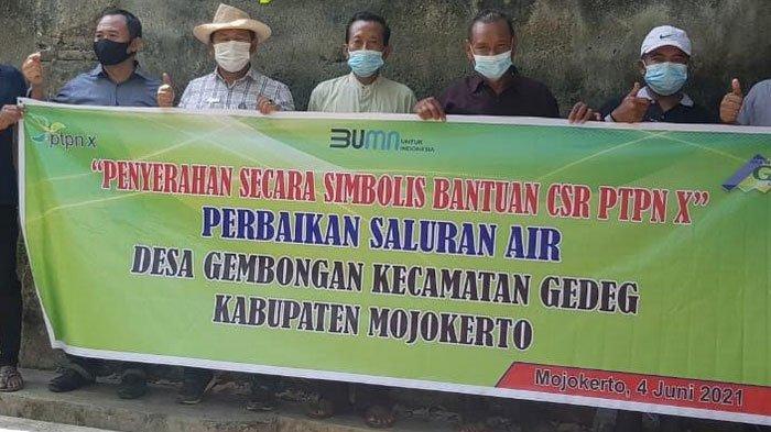 PTPN X Salurkan Bantuan Perbaikan Irigasi untuk Warga di Mojokerto