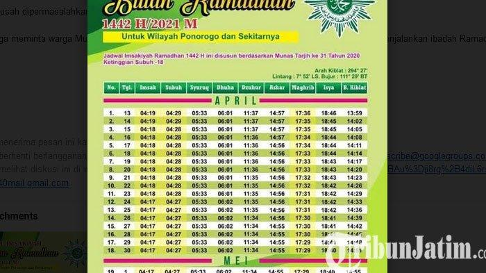 Jadwal Imsakiyah dan Salat Ponorogo Versi Muhammadiyah, Waktu Puasa Lebih Singkat
