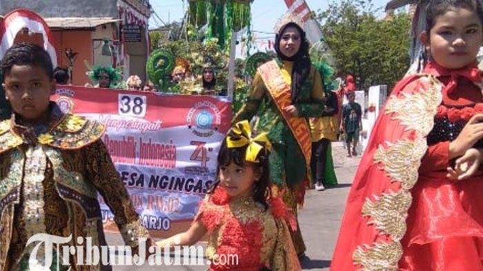 Rayakan Hari Kemerdekaan RI, Seribu Perserta Ramaikan Karnaval Budaya Desa Ngingas Waru Sidoarjo
