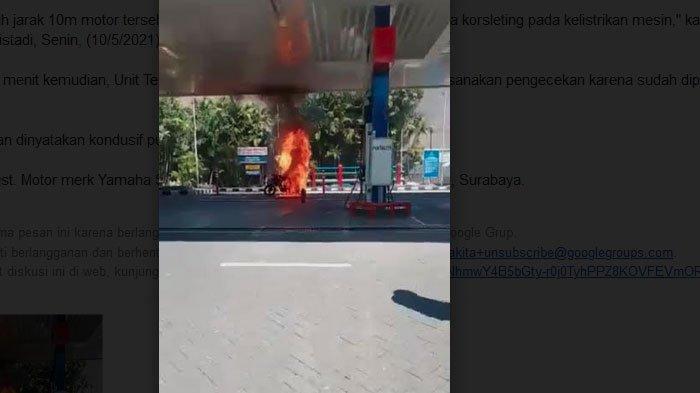 Motor Yamaha Scorpio Terbakar di SPBU Surabaya Seusai Mengisi BBM
