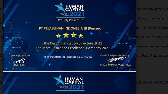 Pelindo III Raih 3 Penghargaan dalam Human Capital on Resilience Excellence Award