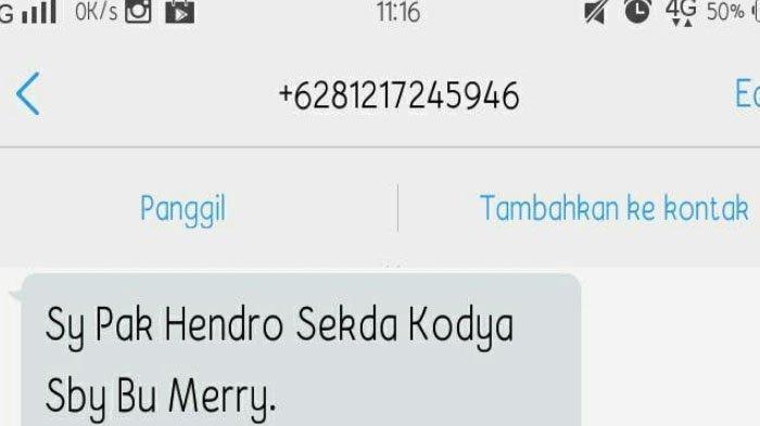 Harap Waspada ! Ada Penipuan Lewat SMS dan WhatsApp Mencatut Nama Sekkota Surabaya