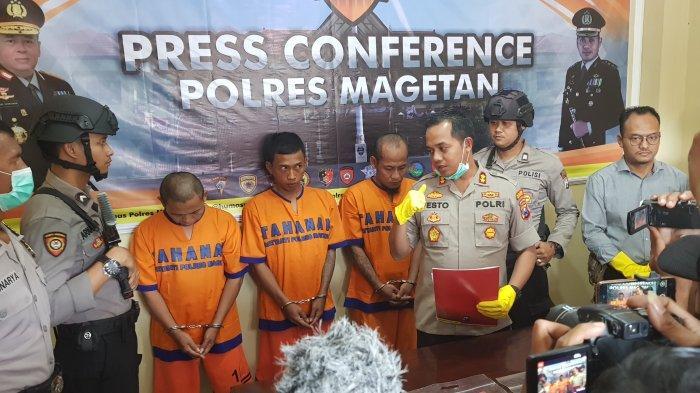 Aksi Nekat Trio Pria Magetan Sasar Motor Matic di Pematang Sawah, Lihat Nasibnya di Kantor Polisi