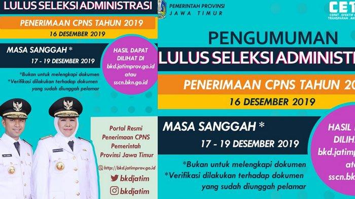 Daftar Nama-nama Peserta Lolos Seleksi Administrasi CPNS 2019 Pemprov Jatim Diumumkan, Cek di Sini!