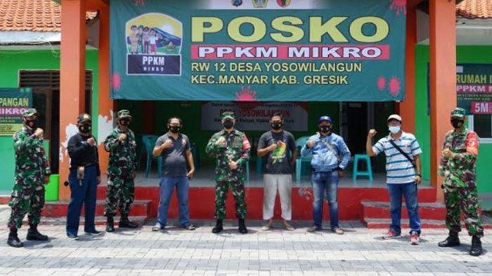 Pastikan PPKM Mikro di Gresik Berjalan Maksimal, Letkol Inf Taufik Ismail Pantau Posko di Desa-desa