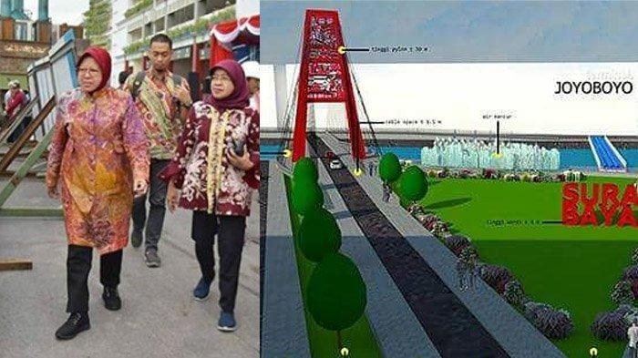 Jadi Ikon Baru Surabaya yang Digagas Risma, Ini Kemegahan Jembatan Joyoboyo, Digadang Usir Kemacetan