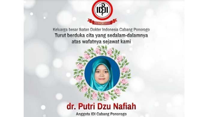 Dokter di Ponorogo, Putri Dzu Nafiah meninggal dunia setelah berjuang melawan Covid-19 (virus Corona) saat tengah hamil 7 bulan, Senin (19/7/2021).