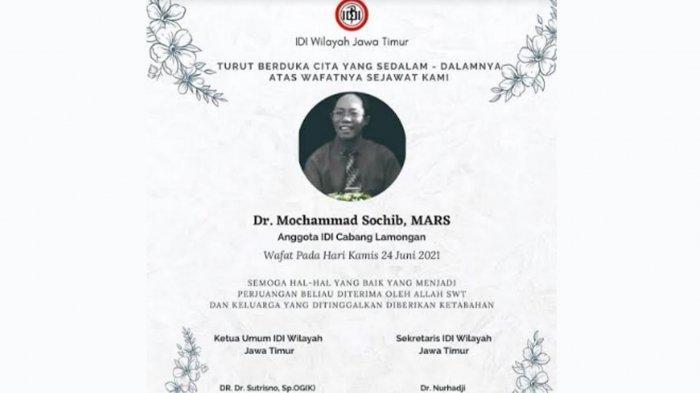 IDI Lamongan: Mantan Kadinkes dr Mochammad Sochib Meninggal Dunia Karena Covid-19