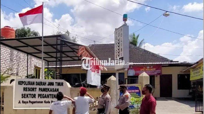 Polsek Pegantenan Pamekasan Gelar Operasi Yustisi, Dua Pelanggar Prokes Disanksi Hormat Bendera