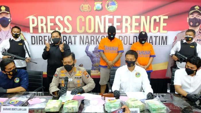 Kemas Sabu dalam Bungkus Teh, Pengedar Jaringan Malaysia Dibekuk Polda Jatim, 6 Kg Sabu Disita