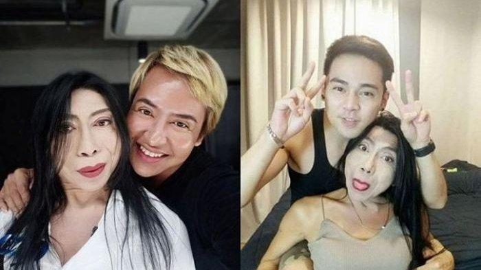 Foto transgender Sitang Buathong bersama pria-pria tampan.