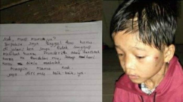 Foto viral di media sosial seorang anak yang diduga dibuang orangtuanya yang disertai selembar surat di Kecamatan Pangkalan Kuras, Kabupaten Pelalawan, Riau, Selasa (29/9/2020).