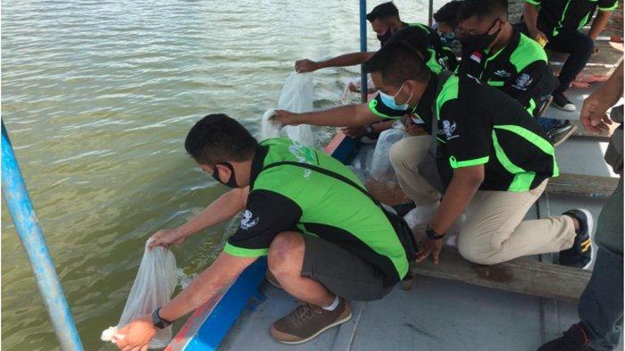 Gelar Gathering, Kawasaki Ninja Indonesia Plat AE Tebar Ribuan Benih Ikan Nila di Waduk Pondok Ngawi