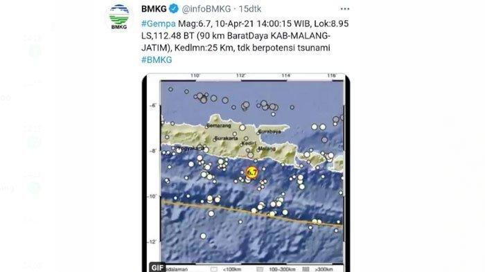 Gempa terjadi di wilayah Kabupaten Malang, namun wilayah Surabaya dan sekitarnya juga terasa
