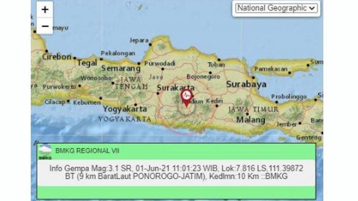 BERITA TERPOPULER JATIM: Gempa Bumi Magnitude 3,3 Guncang Ponorogo - Peringatan Hari Lahir Pancasila