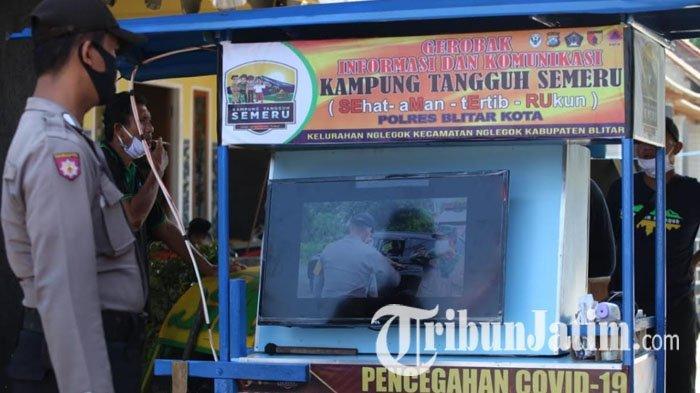 Polres Blitar Kota Buat Gerobak Informasi Sosialisasi Pencegahan Covid-19, Dilengkapi Monitor LED
