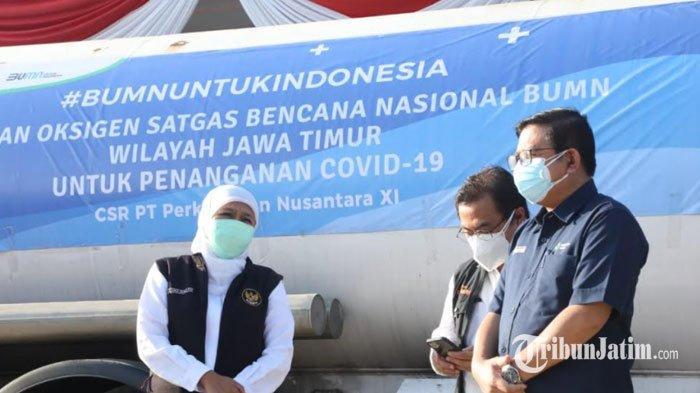 Terima Bantuan 12 Ton Oksigen Cair dari PTPN XI, Gubernur Khofifah Akan Salurkan untuk RS di Jatim