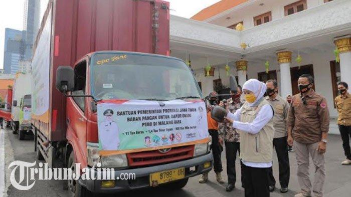 Gubernur Khofifah Kirim 3 Truk Fuso Sembako ke Malang Raya, Pasok Bahan Pangan untuk Daerah PSBB
