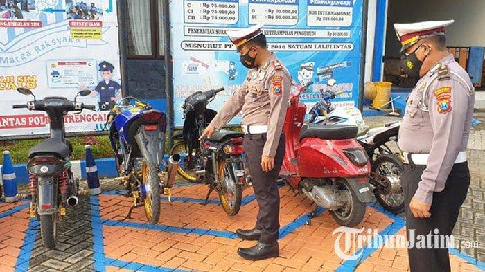 Sepekan Razia Knalpot Racing, Satlantas Polres Trenggalek Amankan Puluhan Motor, Ini Dendanya