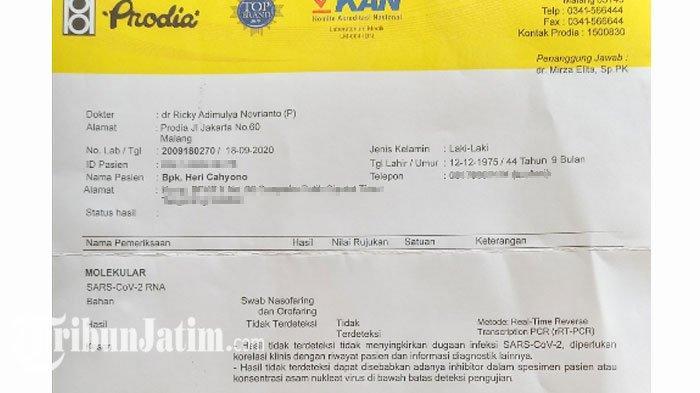Hasil Tes Swab Sam Hc Tidak Terdeteksi Pelopor Malang Jegeg Ini Bakal 3 Kali Tes Covid 19 Tribun Jatim