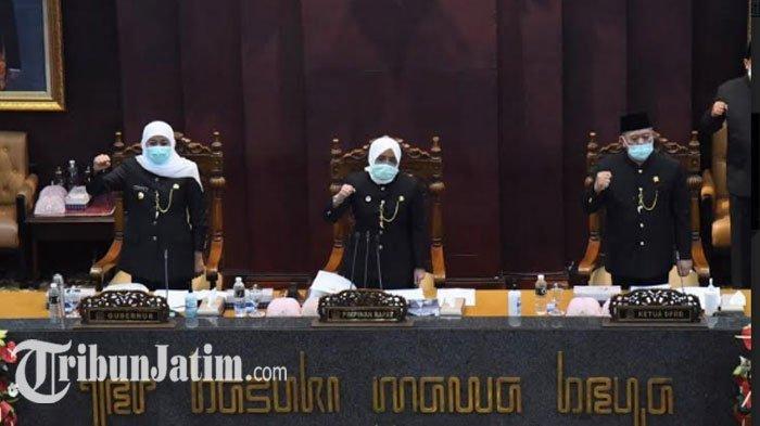 Sidang Paripurna peringatan HUT Provinsi Jawa Timur ke-75, Senin (12/10/2020) siang.
