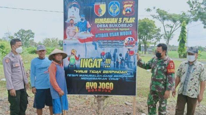 Banner Larangan Mudik Lebaran 2021 Dipasang di Tiap Desa di Nganjuk, Ingatkan 'Covid-19 Masih Ada'