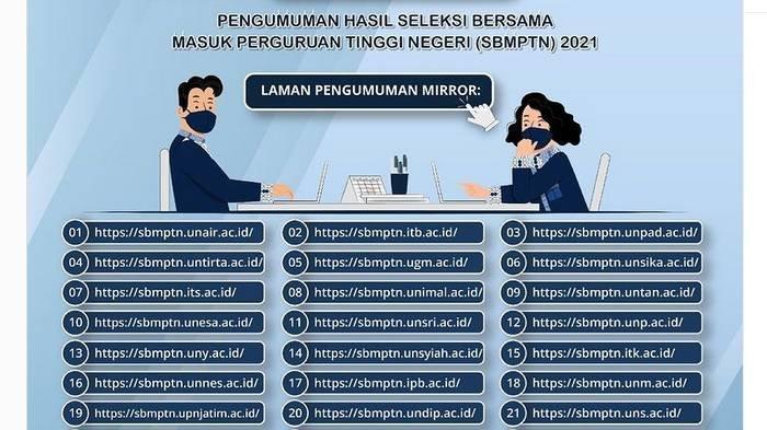 Informasi Laman Pengumuman Mirror SBMPTN 2021.