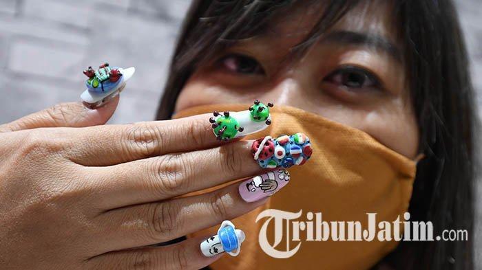 Salon Kecantikan Kuku di Surabaya Ini Kampanyekan Stop Corona Lewat Nail Art yang Unik: Ada Motif 4D