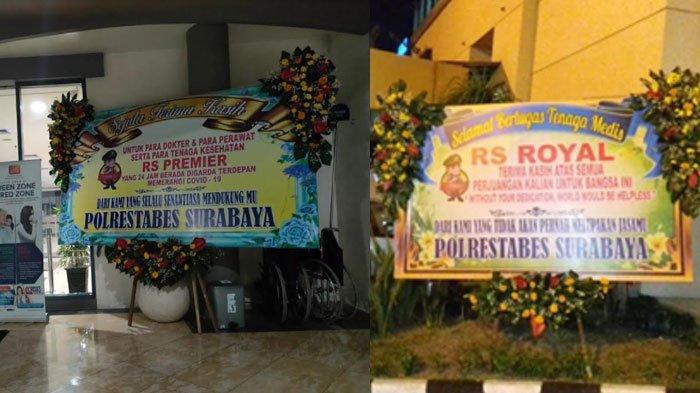 Karangan Bunga dari Polrestabes Surabaya Hiasi Sejumlah RS, Beri Dukungan Nakes: Berjuang Pahlawanku