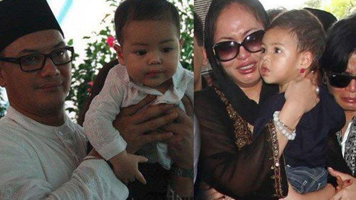 Keanu Massaid kecil saat digendong Adjie Massaid dan Angelina Sondakh.