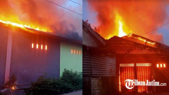 Gudang Barang Paketan di Bangkalan Ludes Dilalap Api, Warga Gotong Royong Padamkan Si Jago Merah