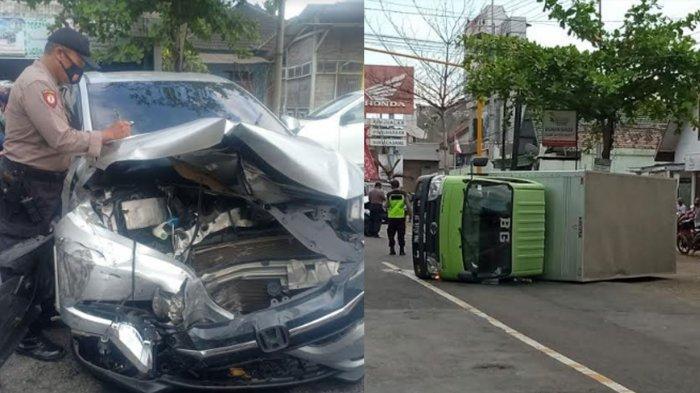 Tabrakan Beruntun di Jalan Nasional Trenggalek-Tulungagung, Truk Boks Ringsek Terguling