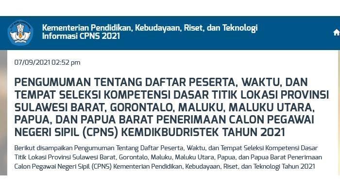 Link Pengumuman Jadwal SKD CPNS 2021 Kemdikbudristek Indonesia Bagian Timur, Provinsi Lain Menyusul