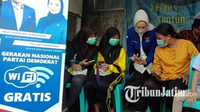 Respon Dampak Pandemi Covid-19, Demokrat Surabaya Pasang Wifi Gratis untuk WargaRangkah Tambaksari