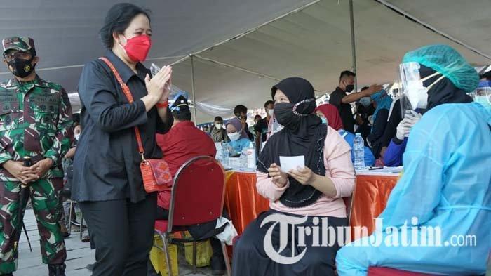 Tinjau Vaksinasi Massal di Surabaya, Puan Maharani Beri 30 Ribu Dosis Vaksin Covid-19 untuk Warga