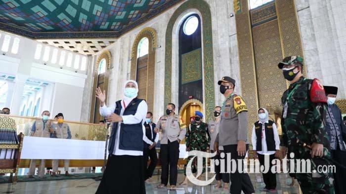 Khofifah Tinjau Kesiapan Masjid Al-Akbar Surabaya yang Gelar Salat Idul Fitri dengan 6.000 Jemaah