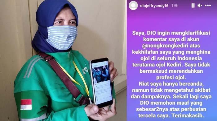 Penghina Driver Ojek Online di Kediri Minta Maaf, Mengaku Niatnya Hanya Bercanda