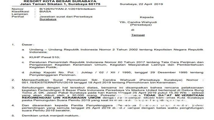 Resmi, Laga Babak 8 Besar Persebaya Surabaya Vs Madura United Mundur Karena Tak Dapat izin Keamanan